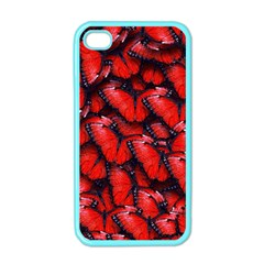 The Red Butterflies Sticking Together In The Nature Apple Iphone 4 Case (color)