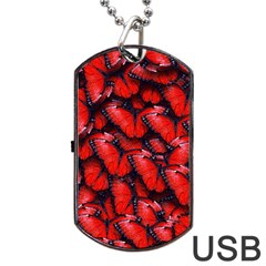The Red Butterflies Sticking Together In The Nature Dog Tag Usb Flash (one Side) by BangZart