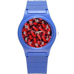 The Red Butterflies Sticking Together In The Nature Round Plastic Sport Watch (s) by BangZart