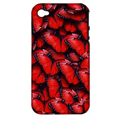 The Red Butterflies Sticking Together In The Nature Apple Iphone 4/4s Hardshell Case (pc+silicone) by BangZart