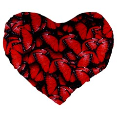 The Red Butterflies Sticking Together In The Nature Large 19  Premium Heart Shape Cushions by BangZart