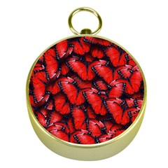 The Red Butterflies Sticking Together In The Nature Gold Compasses by BangZart