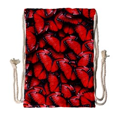 The Red Butterflies Sticking Together In The Nature Drawstring Bag (large) by BangZart