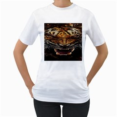 Tiger Face Women s T Shirt (white) (two Sided)