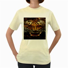 Tiger Face Women s Yellow T Shirt
