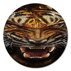 Tiger Face Magnet 5  (round) by BangZart