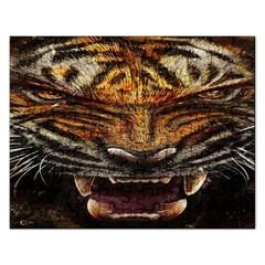 Tiger Face Rectangular Jigsaw Puzzl by BangZart