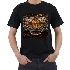 Tiger Face Men s T Shirt (black) (two Sided)