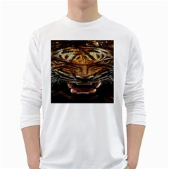 Tiger Face White Long Sleeve T Shirts