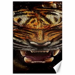 Tiger Face Canvas 12  X 18