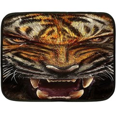 Tiger Face Double Sided Fleece Blanket (mini)