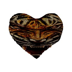 Tiger Face Standard 16  Premium Heart Shape Cushions