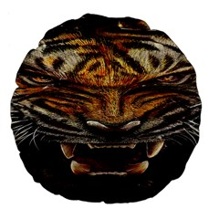 Tiger Face Large 18  Premium Flano Round Cushions
