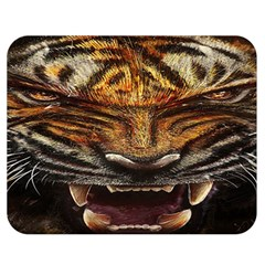 Tiger Face Double Sided Flano Blanket (medium)  by BangZart