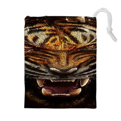 Tiger Face Drawstring Pouches (extra Large)