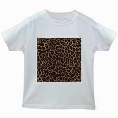 Tiger Skin Art Pattern Kids White T Shirts