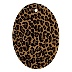 Tiger Skin Art Pattern Oval Ornament (two Sides)