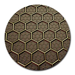 Texture Hexagon Pattern Round Mousepads by BangZart