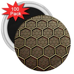 Texture Hexagon Pattern 3  Magnets (100 Pack)