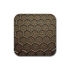 Texture Hexagon Pattern Rubber Square Coaster (4 Pack)
