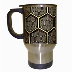 Texture Hexagon Pattern Travel Mugs (white)