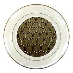 Texture Hexagon Pattern Porcelain Plates by BangZart