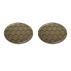 Texture Hexagon Pattern Cufflinks (oval)