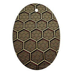 Texture Hexagon Pattern Oval Ornament (two Sides) by BangZart