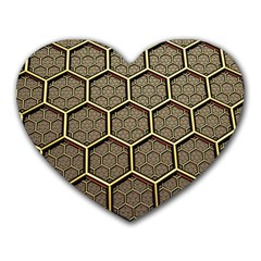 Texture Hexagon Pattern Heart Mousepads