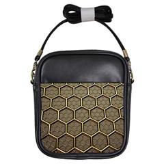 Texture Hexagon Pattern Girls Sling Bags