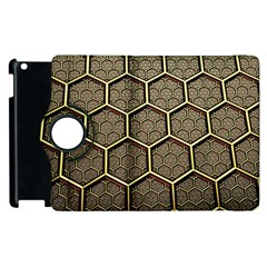 Texture Hexagon Pattern Apple Ipad 2 Flip 360 Case by BangZart