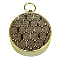 Texture Hexagon Pattern Gold Compasses by BangZart