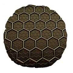 Texture Hexagon Pattern Large 18  Premium Flano Round Cushions by BangZart