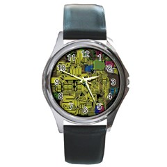 Technology Circuit Board Round Metal Watch