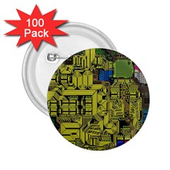 Technology Circuit Board 2 25  Buttons (100 Pack)