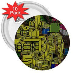 Technology Circuit Board 3  Buttons (10 Pack)  by BangZart