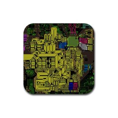 Technology Circuit Board Rubber Square Coaster (4 Pack)  by BangZart