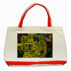 Technology Circuit Board Classic Tote Bag (red) by BangZart