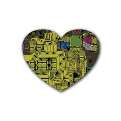 Technology Circuit Board Rubber Coaster (heart)