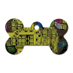 Technology Circuit Board Dog Tag Bone (one Side)