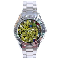 Technology Circuit Board Stainless Steel Analogue Watch by BangZart