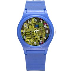Technology Circuit Board Round Plastic Sport Watch (s) by BangZart
