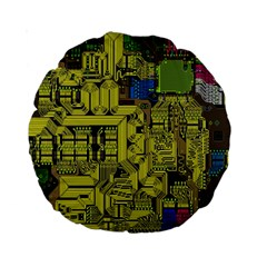 Technology Circuit Board Standard 15  Premium Round Cushions
