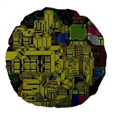 Technology Circuit Board Large 18  Premium Round Cushions by BangZart