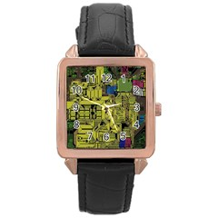 Technology Circuit Board Rose Gold Leather Watch