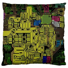 Technology Circuit Board Large Flano Cushion Case (two Sides)