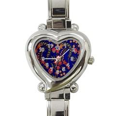 Texture Batik Fabric Heart Italian Charm Watch