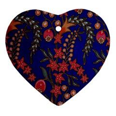 Texture Batik Fabric Heart Ornament (two Sides) by BangZart