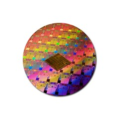 Technology Circuit Pentium Die Rubber Coaster (round)  by BangZart
