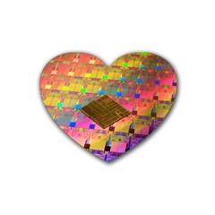 Technology Circuit Pentium Die Rubber Coaster (heart)  by BangZart